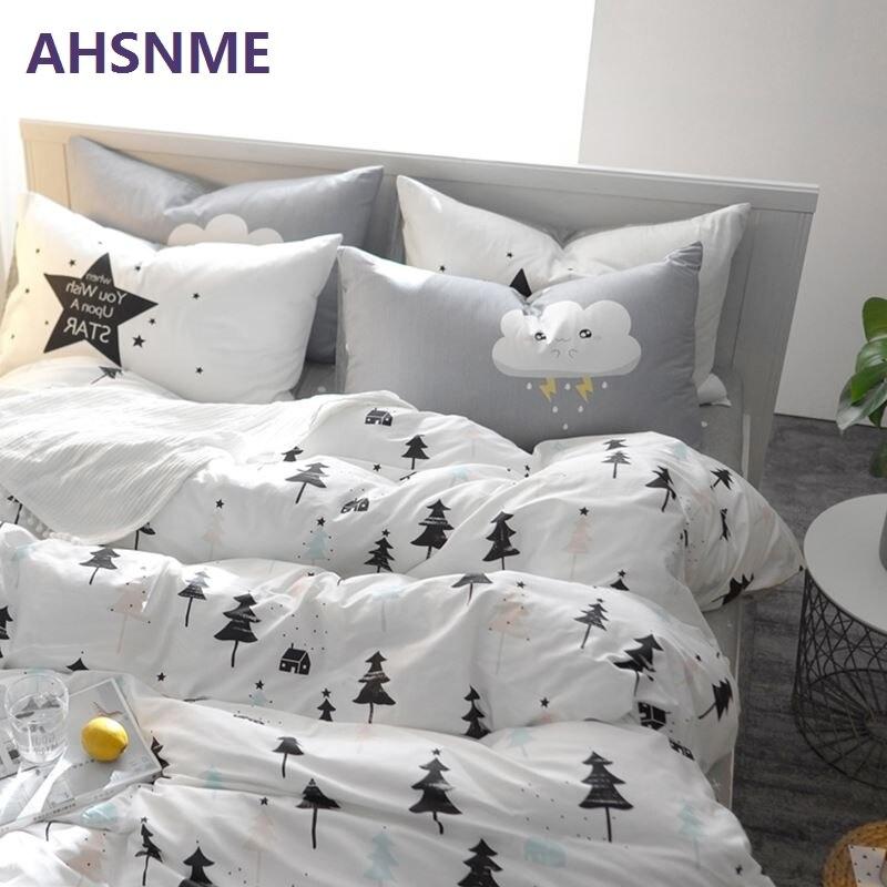 AHSNME 100% Coton Draps Nordique draps multi taille couvre-lit pin cactus housse de couette taie d'oreiller ensemble de literie Lit Ensemble