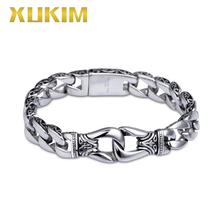 SSB078 Xukim Jewelry Stainless Steel Totem Vintage Silver Bracelet