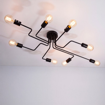 4/6/8 Heads Multiple Rod Wrought Iron Ceiling Light Retro Industrial Loft Nordic Dome Lamp for Home Decor Dinning Cafe Bar Ceiling Lights