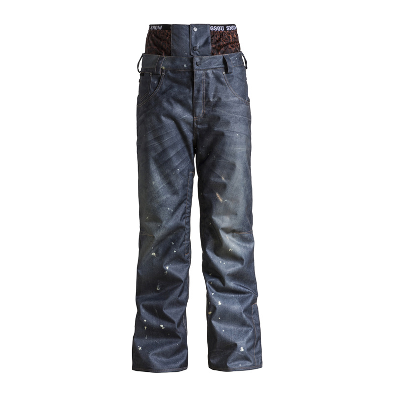 Pantalon de ski pour hommes simple plaque hommes cowboy pantalon taille lignes coréen extérieur coupe-vent imperméable chaud 1522