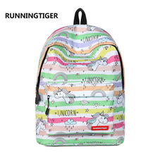 RUNNINGTIGER Cute Unicorn Printing Bagpack Fashion School Backpack for Girls Canvas Women Preppy Style Backpacks