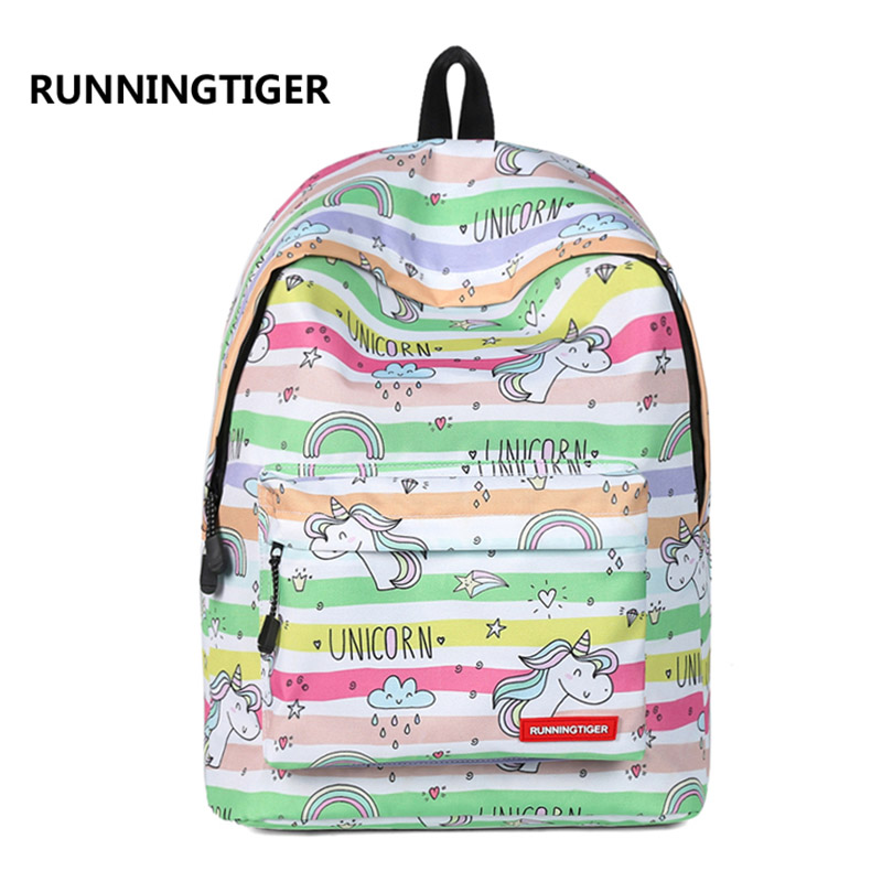 RUNNINGTIGER Cute Unicorn Printing Bagpack Fashion School Backpack for Girls Canvas Women Backpack Preppy Style Backpacks