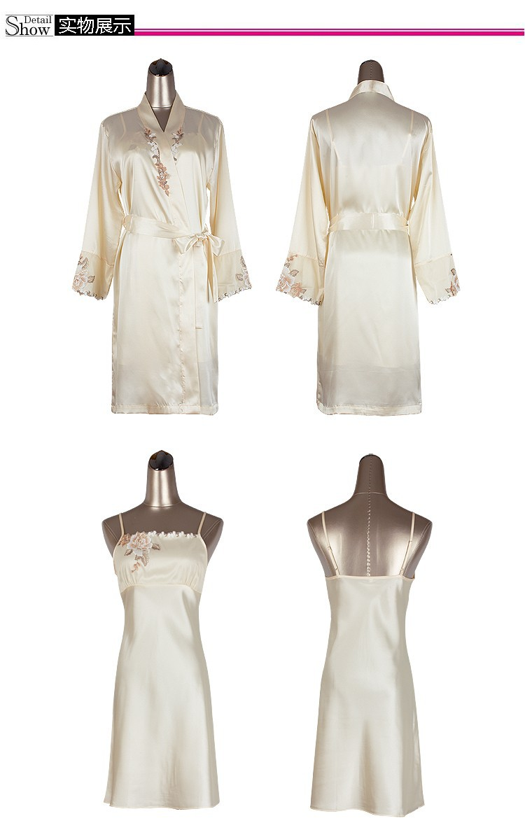 satin silk robe front embroidery, beautiful and fine silk embroidery