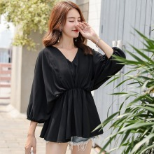 Summer Chiffon Blouse Women Long Sleeve V-Neck Casual Shirt Tops Elegant Office Ladies Blouses