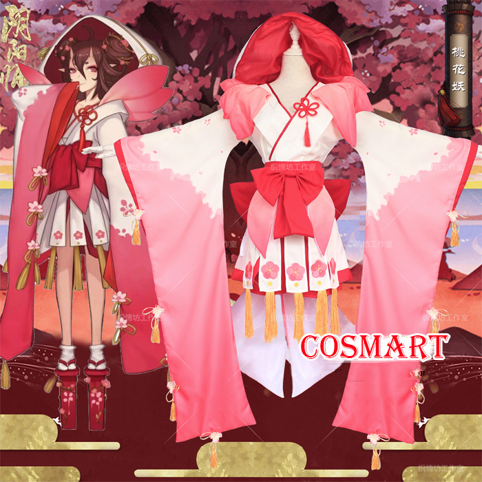 [STOCK]Kimono+Wig+Clogs Game Onmyoji The Peach Blossom Banshee Vantage Cosplay Costume Kimono Uniform Halloween NEW 2018