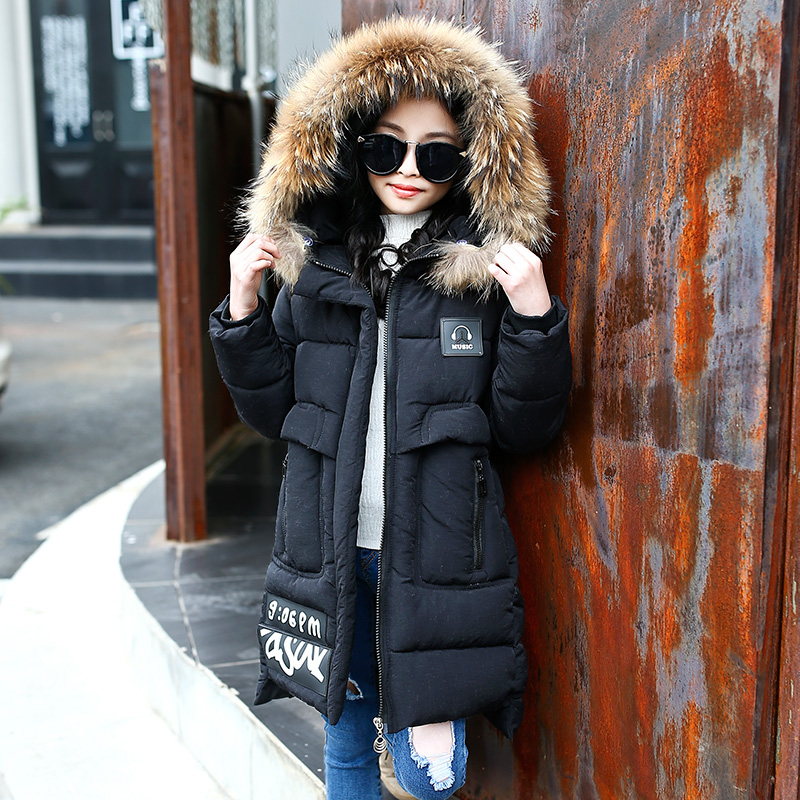 2018 New Girls Winter Jackets Cartoon Fur Hooded Parkas Coats for Girls Clothes Thick Warm Cotton