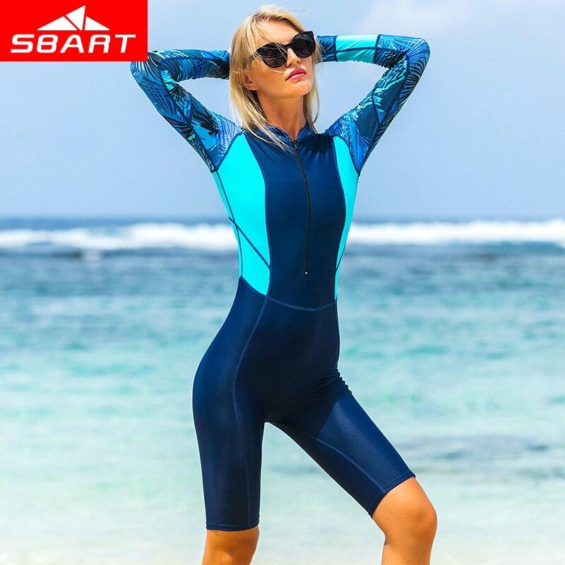 SBART professionnel à manches longues Lycra combinaison de plongée femmes combinaison une pièce body maillot de bain plongée en apnée combinaisons de protection contre les éruptions cutanées