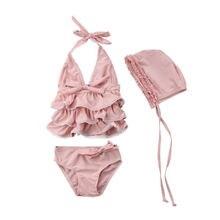Baby Girls Summer Ruffles Swimsuit Bathing Swimming Costume Swimwear Halter Tops+Bottoms+Hat 3PCS Beach Set