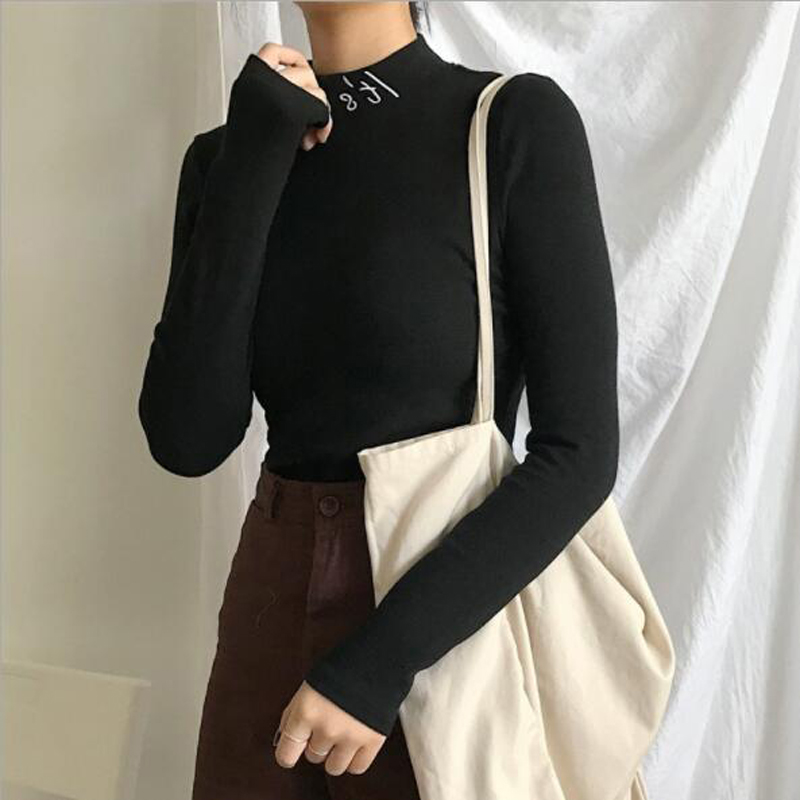 Thin Style Women Hoodies European American Letters Print Long Sleeve Half Turtleneck Woman Pullover Slim Fit Women Tops