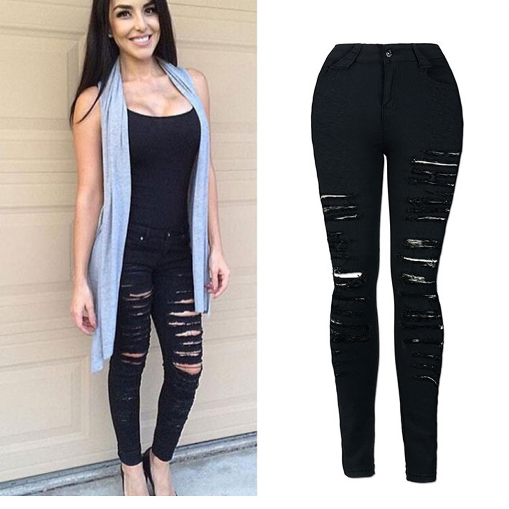 Female Boyfriend Hole Ripped Jeans Women Black Skinny Pants Cool Denim Vintage Pencil Jeans For Girl Mid Waist Casual Pants jeans woman summer ripped boyfriend jeans for women red lips denim mid waist distressed pencil pants femme casual long pants z15