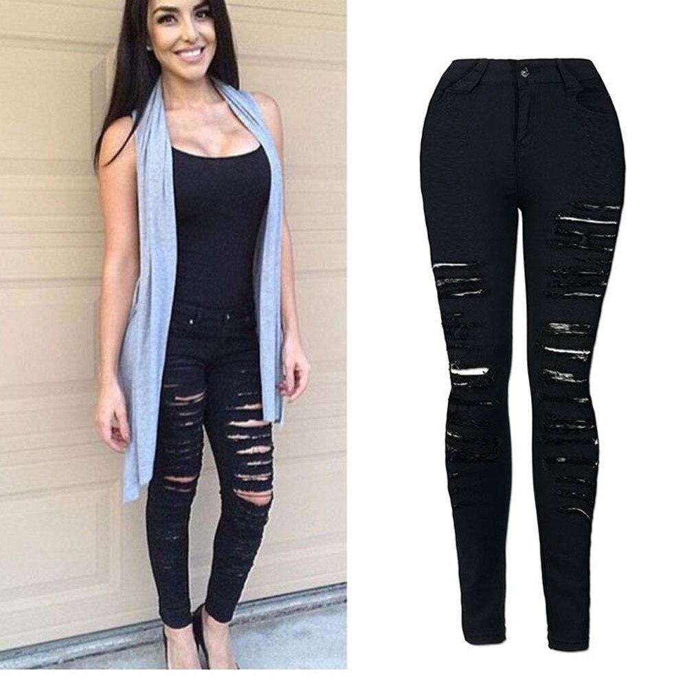 Denim Ripped Casual Mujer Cool Cintura De Para Flaco Niña Agujero Jeans  Novio Mediados Lápiz Negro ... c828866f83c