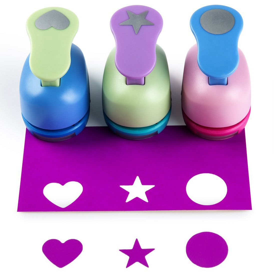 Crafts Punch paper punches ,Punches,Pack of 3,Heart,Circle,Star
