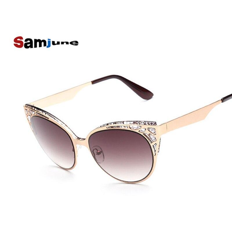 2016 Dámské sluneční brýle Cat Eye Brýle Women Hollow Metal Frame Vysoce kvalitní Vintage sluneční brýle pro ženy Oculos UV400