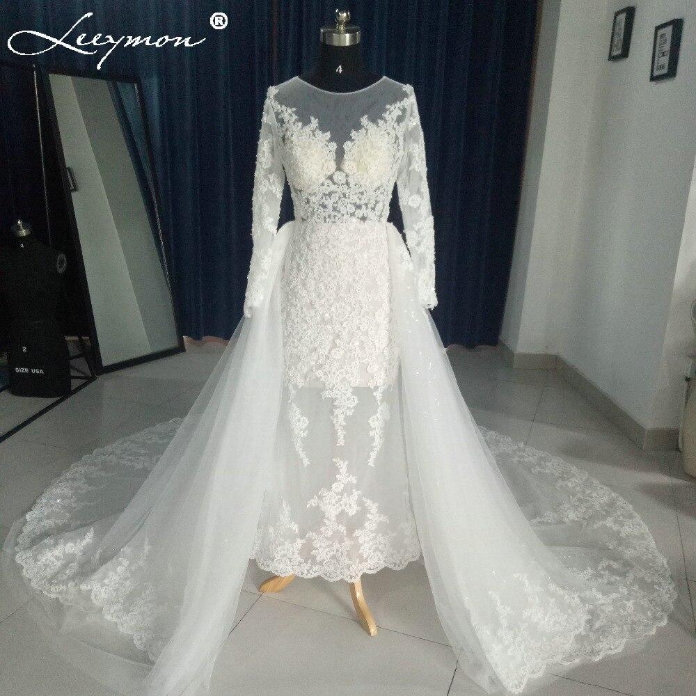 Luxury Ivory Mermaid Lace Wedding Dresses Long Sleeve 2018