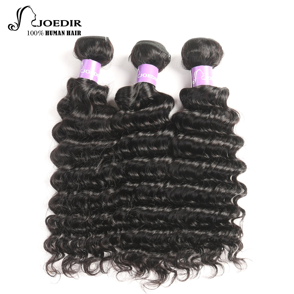 Joedir Pre-Colored Malaysian Deep Curly Hair Bundles 3 pcs Non Remy Hair Weave 100% Human Hair Extensions Can be Dyed