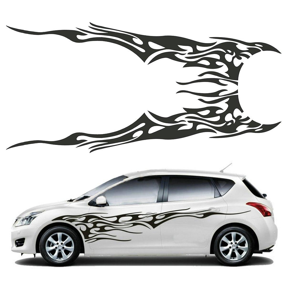 Design a car sticker online - 2pcs 210 5x48cm Diy Flame Graphics Vinyl Car Side Sticker Decal Waterproof Black China