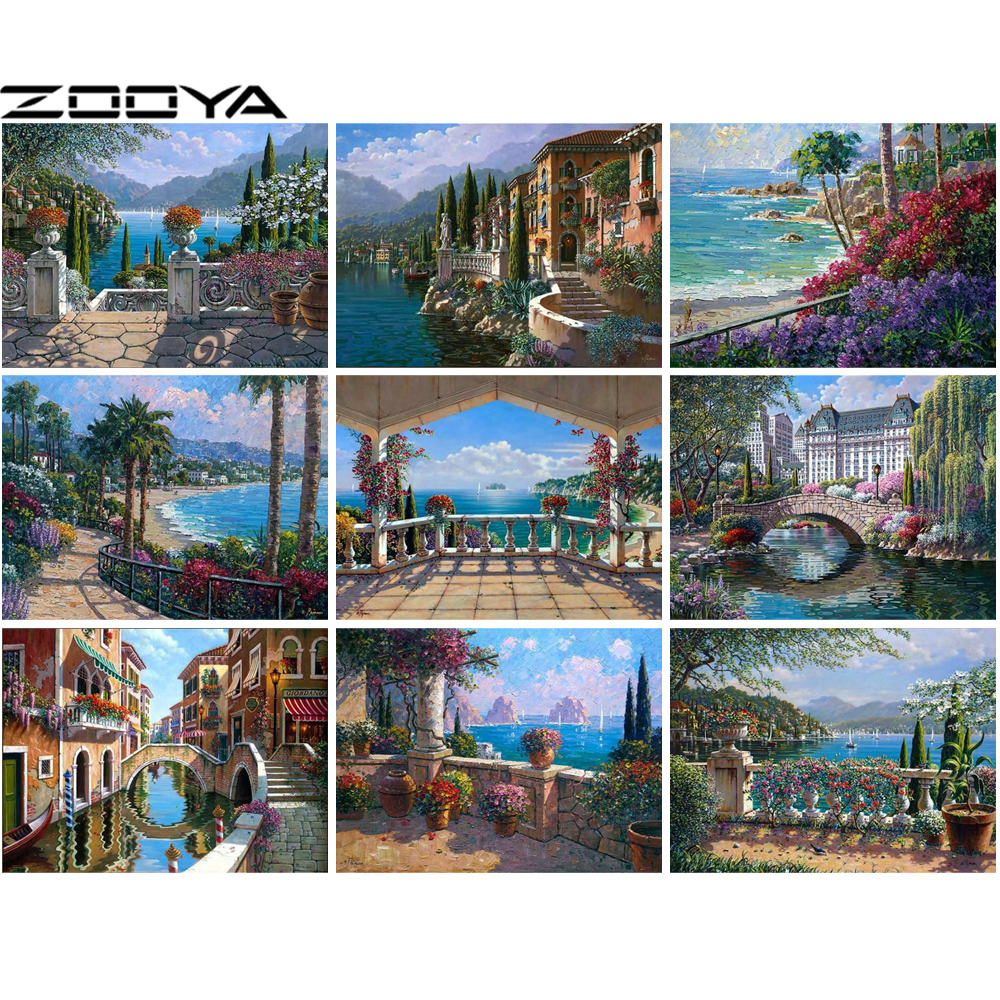 ZOOYA 5d Diamond Painting landscape Embroidery Combination seaside garden colored flowersFull Round drill Mosaic sale