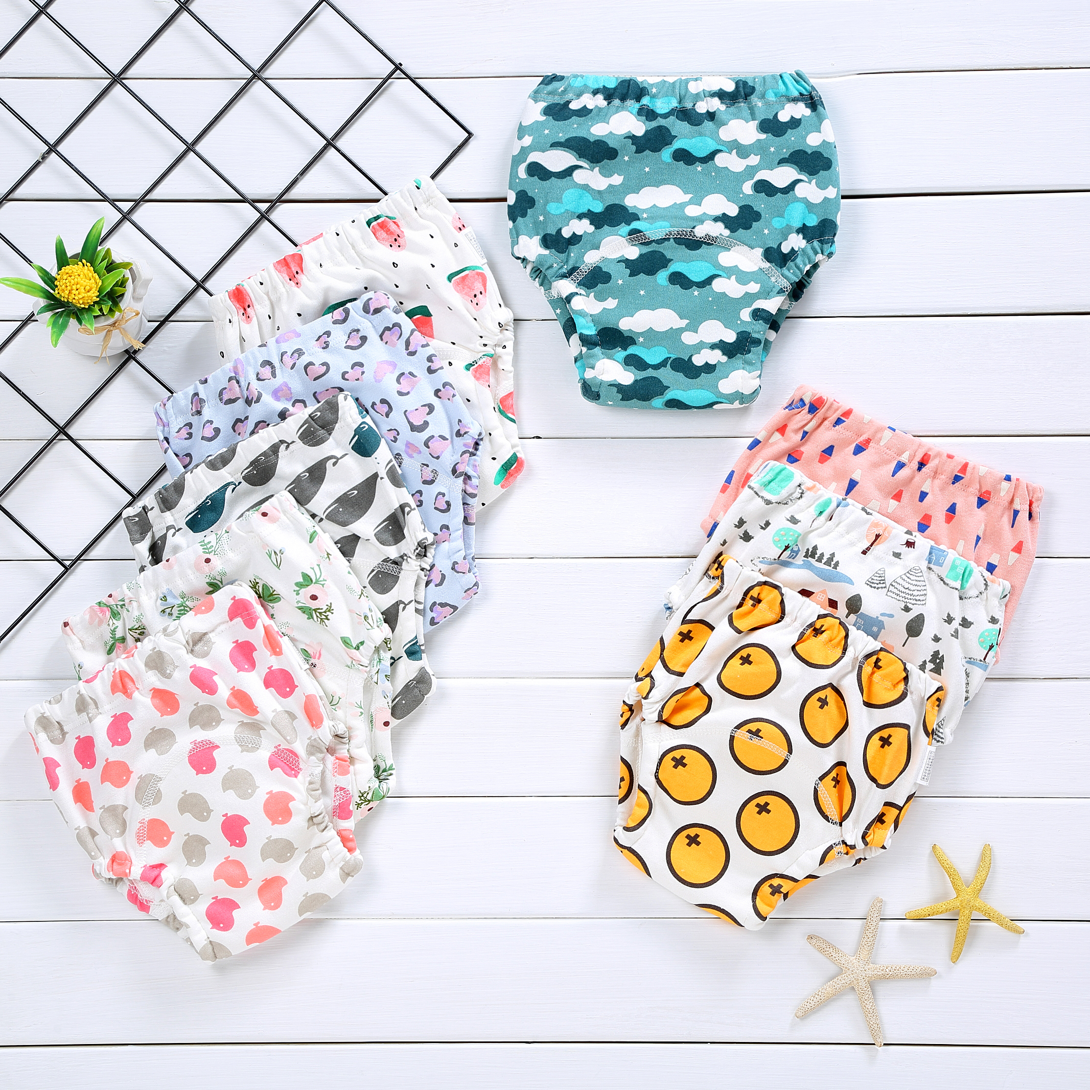 Training Panties 4 Layers Cloth Diapers Baby Cotton Diapers Nappy Waterproof Pants Print Baby Potty Training Toddler Underwear