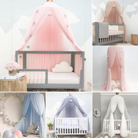 Baby Crib Netting Princess Dome Bed Canopy Childrens Bedding Round Lace Mosquito Net For Baby Sleeping 5 Colors