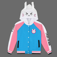 CIBO Game OVERWATCH D.va OW Unisex Blue Hoodies Cosplay DVA Costume Coat Cardigan Jacket Casual Autumn Cotton Clothes