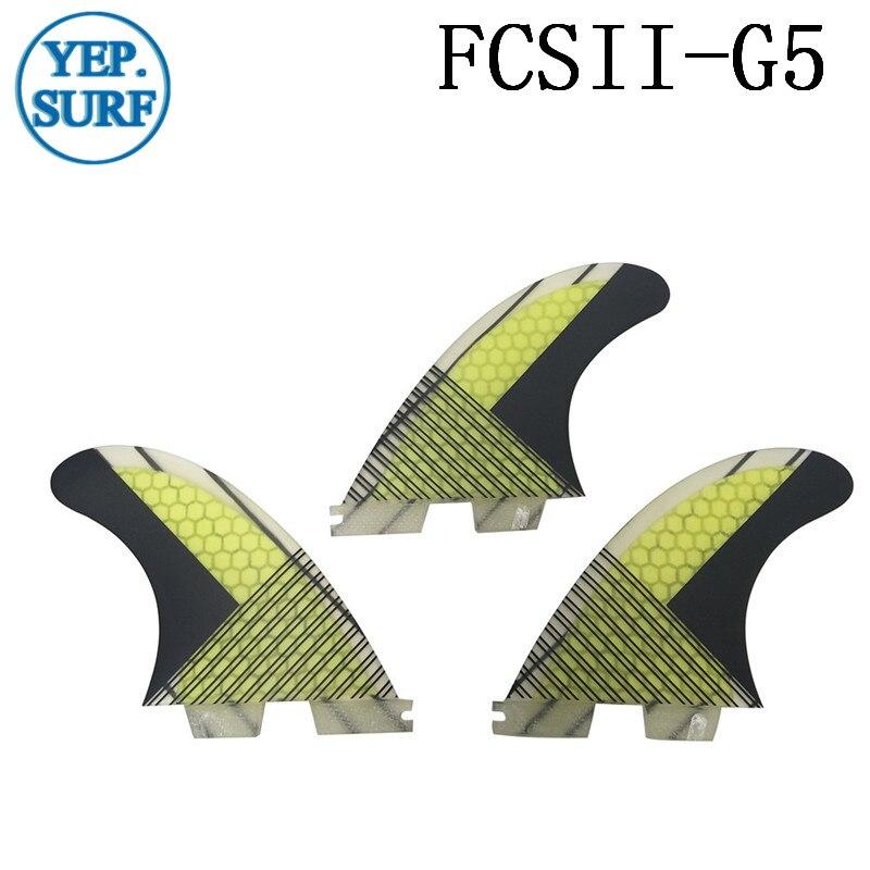 Aileron de surf FCS II G5, jaune En Fiber de verre En Nid D'abeille carbone fibre Fin FCS 2 conseil sup bonne qualité FCS2 Ailettes