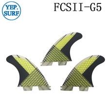 Surf  Fins FCS II G5 ,yellow Fibreglass Honeycomb carbon Fiber Fin 2 SUP Board Good Quality FCS2