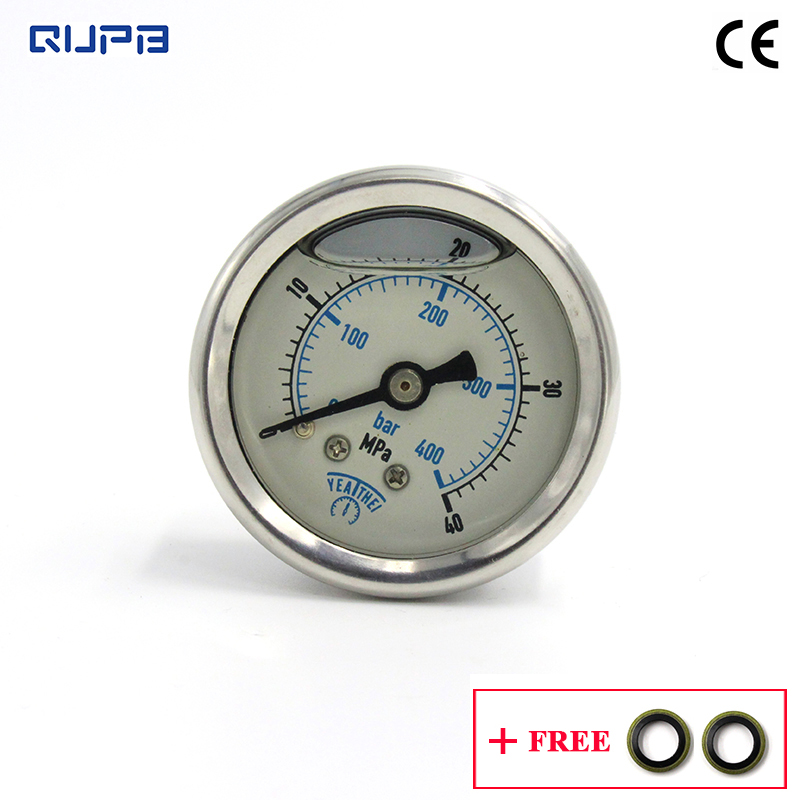 QUPB 40MM High Pressure Oil Filled Diving Pressure Gauge For HP Fill Station 40MPA/400Bar 1/8