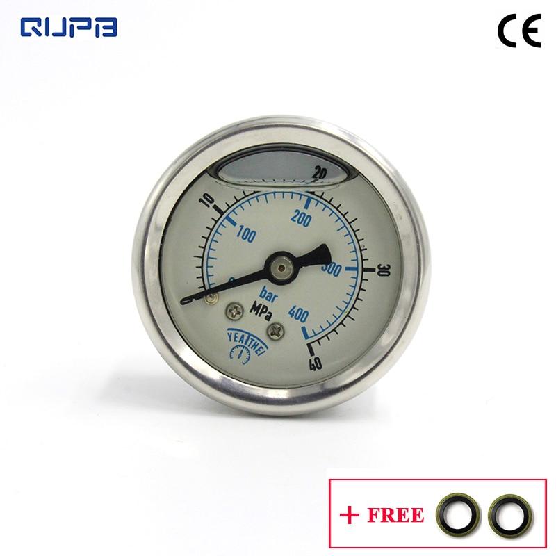 QUPB 40MM High Pressure Oil Filled Diving Pressure Gauge For HP Fill Station 40MPA/400Bar 1/8