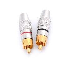 2 pçs/set Plugue RCA Ouro Solda Adaptador de Conector Macho para Macho de Áudio e Vídeo Conversor Atacado