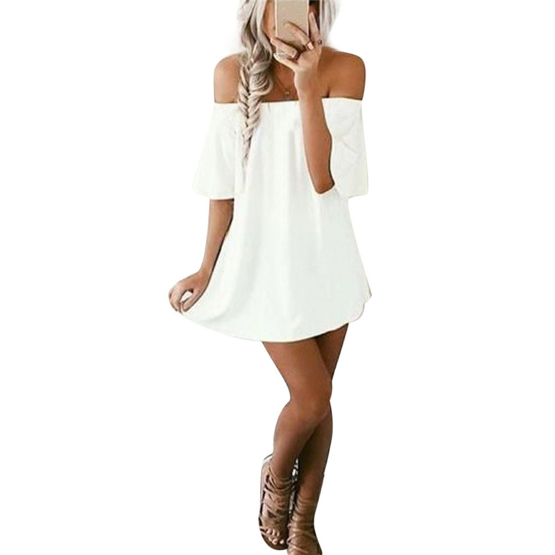 snowshine YLI Women Pullover T-Shirt Dress Off Shoulder Casual Dress free shipping
