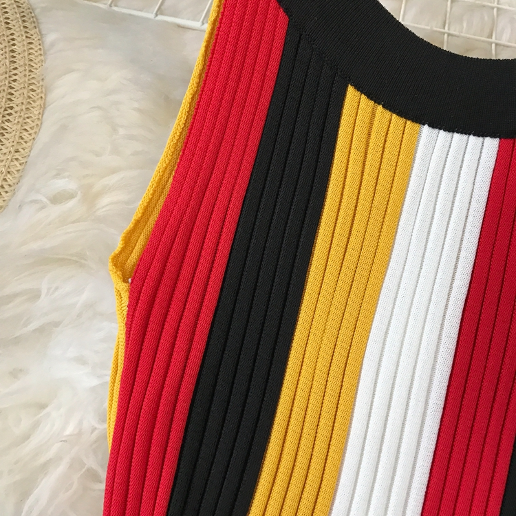 ALPHALMODA Summer 2019 New Round Neck Rainbow Vertical Striped Women Vintage Sexy Knit Dress Sleeveless Pullovers Ladies Vestido 12