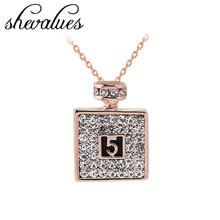 Women Perfume Bottle Pendant Necklace Rose Gold Full Rhinestone Lucky Number Crystal Pendant Necklace Delicate Fashion Jewelry