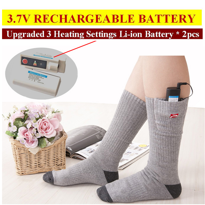2016 Winter New Mens Womens Stockings High Quality Rechargeable Battery Heated Socks Supper Warm Thermal Electric Heating Socks