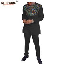 2019 spring 2-pieces pants set for men AFRIPRIDE tailor made full sleeve top with appliques+full length pants men's set A1816010