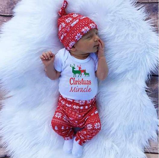 4pcs Baby My Christmas Clothes Set Boy Girl home Outfit Merry Xmas romper+snowflake pants+hat deer climbing body coat clothing my christmas cd