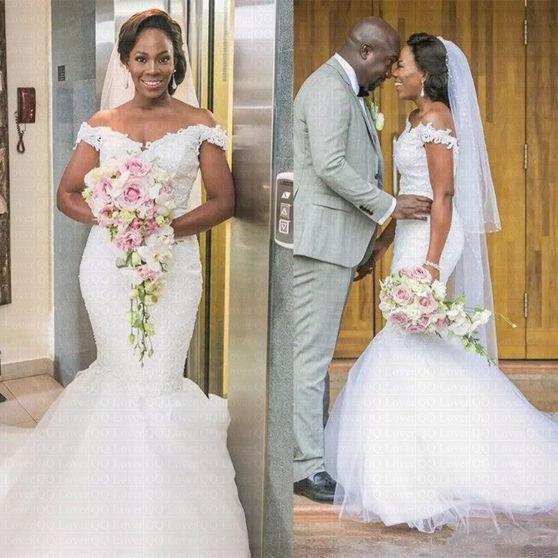2019 New African Sexy V-neck Mermaid Wedding Dress Off The Shoulder Bridal Gowns