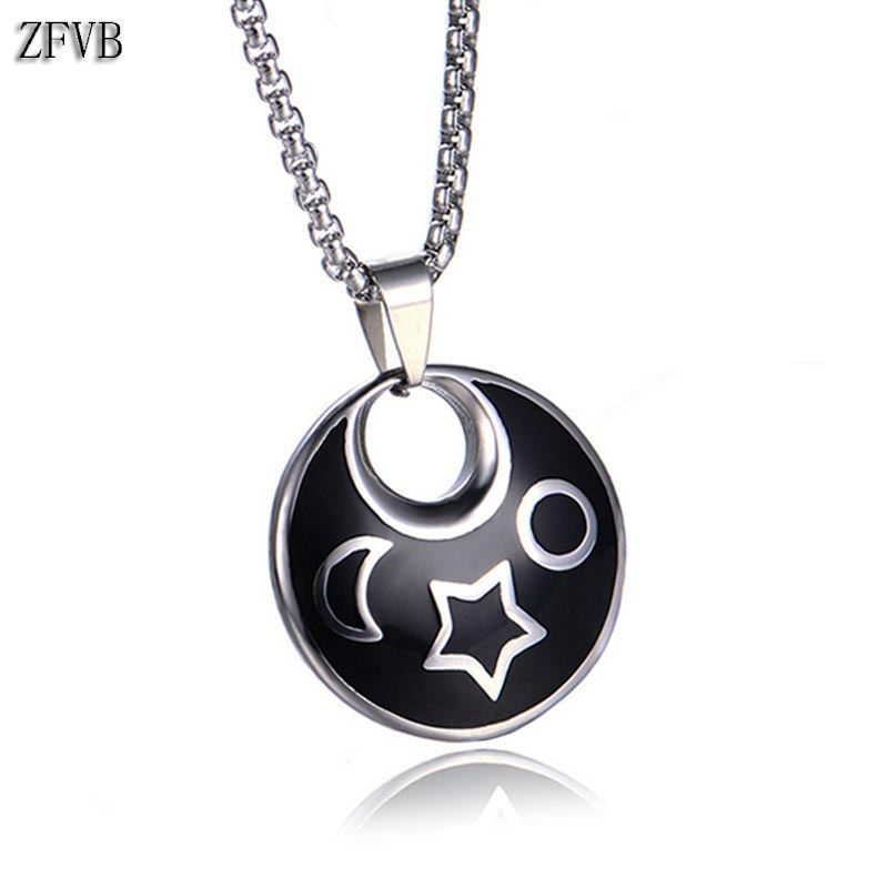 Los Enamor Carved Turnable Silver Crescent Moon Necklaces Long Necklaces For Women Statement Jewelry Wholesale Necklace Women Chain Necklaces