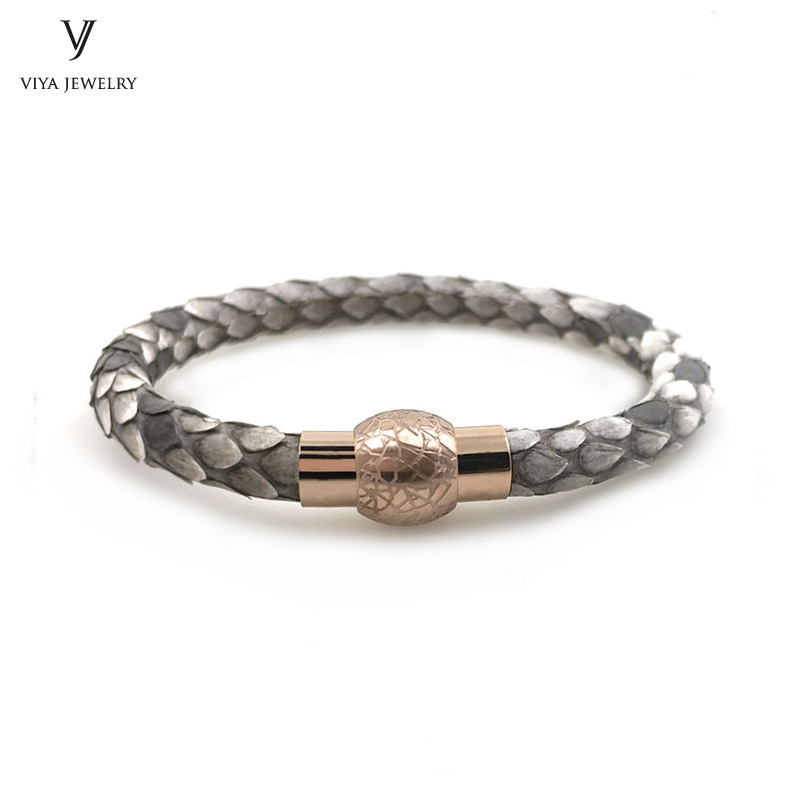 Truth Python Skin Leather Bracelet With Magnetic Locks Rose Gold Magnetic Closure Bracelet Natural Python Leather Bracelet