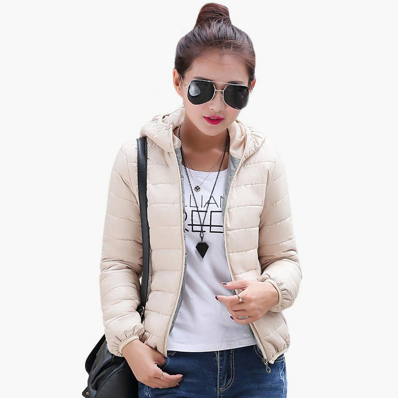 Solid Color Zipper Hooded Women Spring Jacket 2018 New Fashion Autumn Winter Slim Warm Ladies Coats Plus Size Outerwear 4
