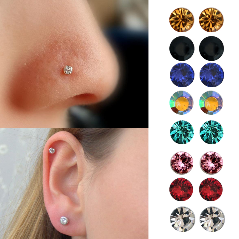 <font><b>Unisex</b></font> Fashion Magnetic Stud <font><b>Earring</b></font> non piercing cartilage tragus helix <font><b>earring</b></font> crytsal magnet nose stud 8 pairs/pack image