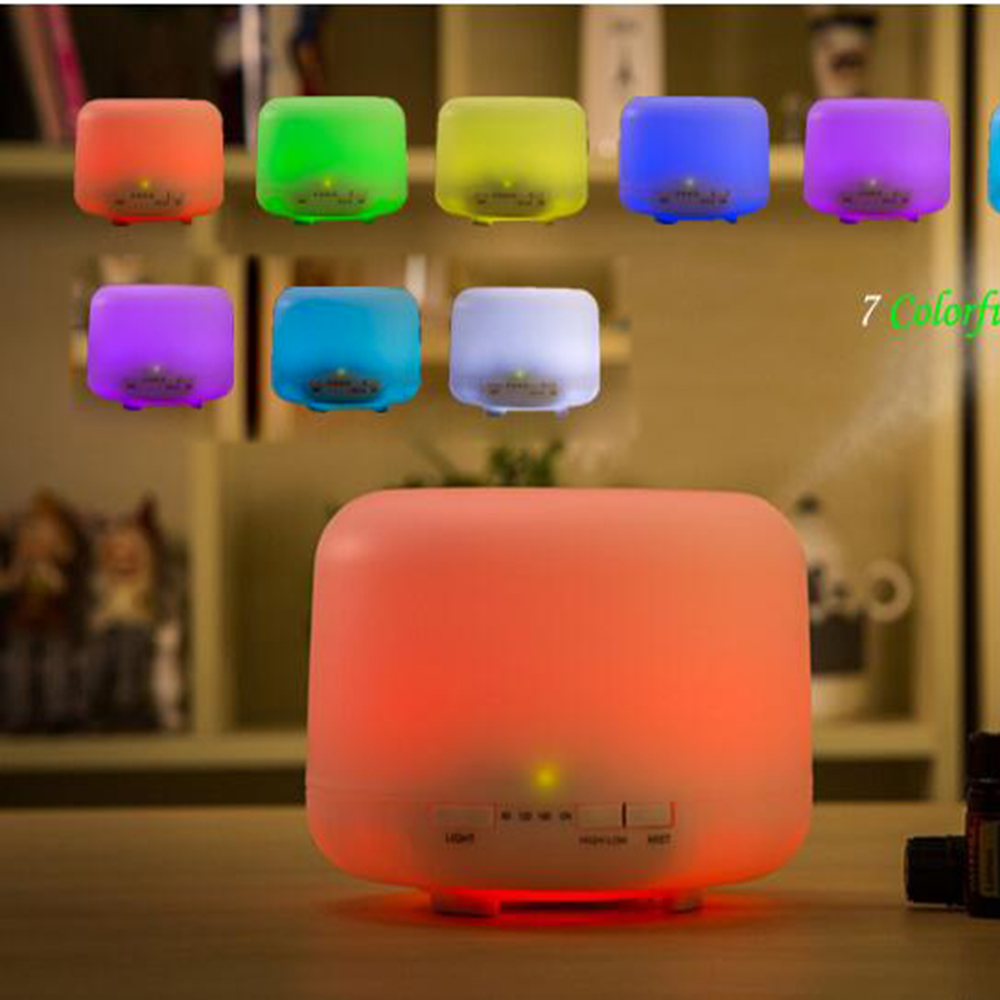 ФОТО  500ml 7 Colorful LED Light Essential Oil Aroma Diffuser Ultrasonic Air Humidifier Mist Maker Fogger