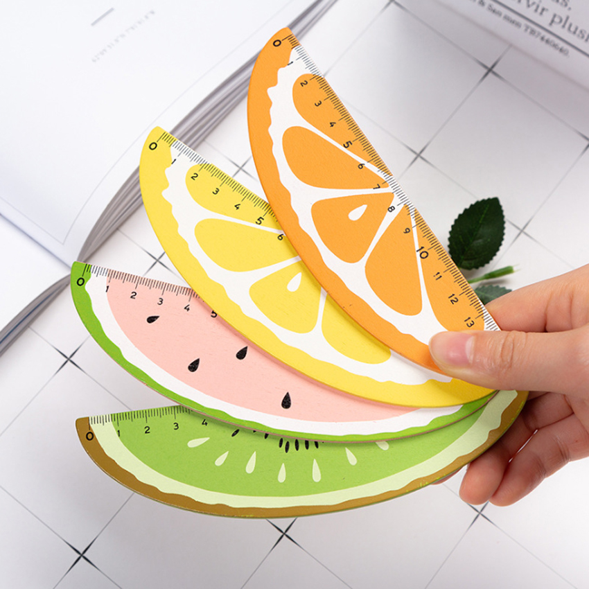 1pcs/lot Korean Cute Cartoon Fresh Fruit Design Wooden Straight Ruler 15cm DIY Tools Nice Gift Prize Stationery
