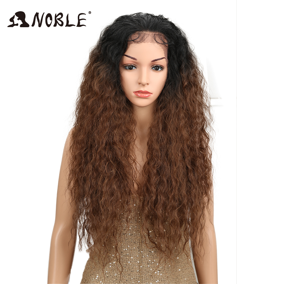 """Noble 30"""" High Temperature Fiber Free Part Long Ombre Natural Wave Lace Front Baby Hair Wigs Synthetic Afro Wigs For Black Women"""