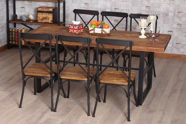 Us 324 0 Custom Vintage American Country Wood Dining Table Dining Furniture Wrought Iron Dining Table Dinette Combination Of Low Di Meja Makan Dari