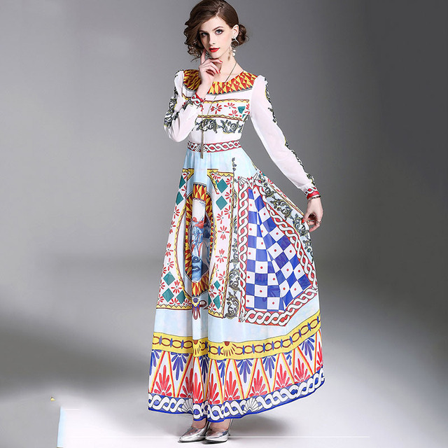 2018 New Trend Fashion Dress Printing Waist Free Shipping