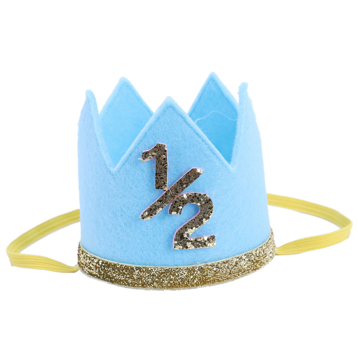 FBIL-Newborn Infant Toddler Baby Girl Boy Half 1/2 First Second Third Birthday Crown Party Cake Smash Headband Hair Accessorie