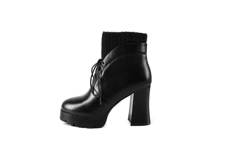 Cuero De Botines Primavera Alto Black Morazora Plush Tacón Botas Mujer Calidad Para Tamaño En Superior Otoño Vaca Plataforma 1 Cordones Zapatos 40 34 Short Pu black tqwzExwOFZ