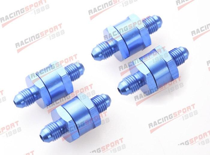 4 pièces 6AN Carburant Retour Un Clapet anti-Retour Essence Diesel D'alliage D'aluminium OWV-07-BLUE-4