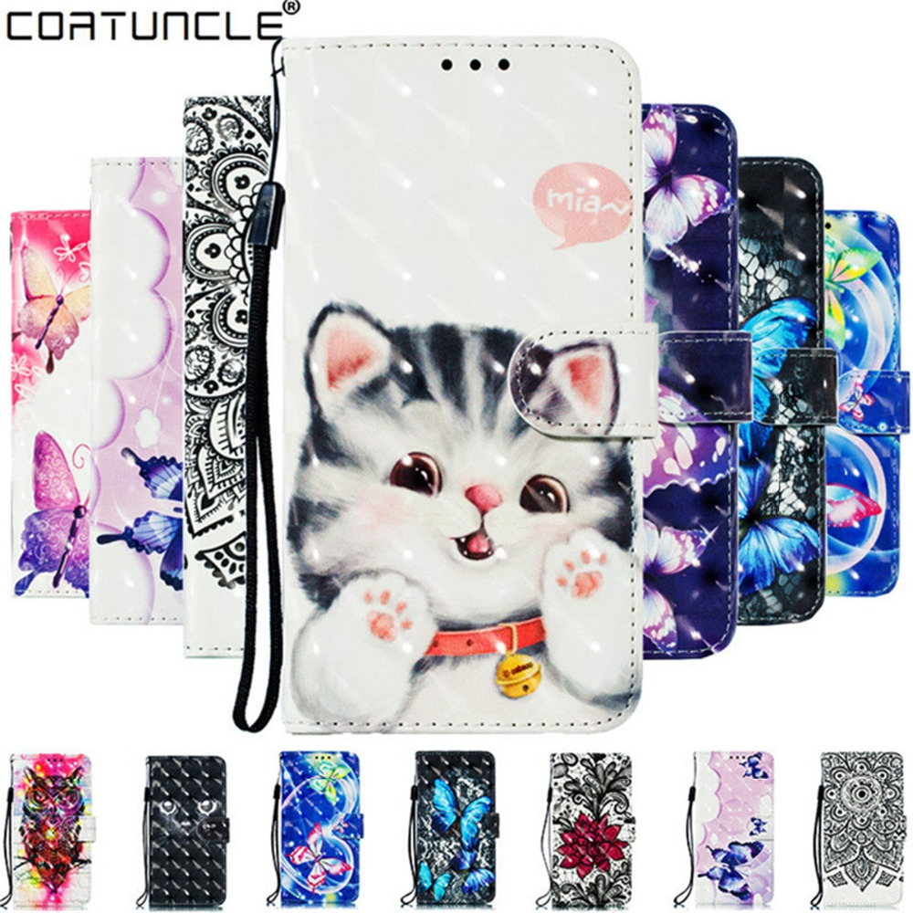 A9 2018 Case for Coque Samsung Galaxy A9 2018 Cover on for Fundas Samsung A8 2018 3D Cat Case Wallet Flip Leather Phone Cases
