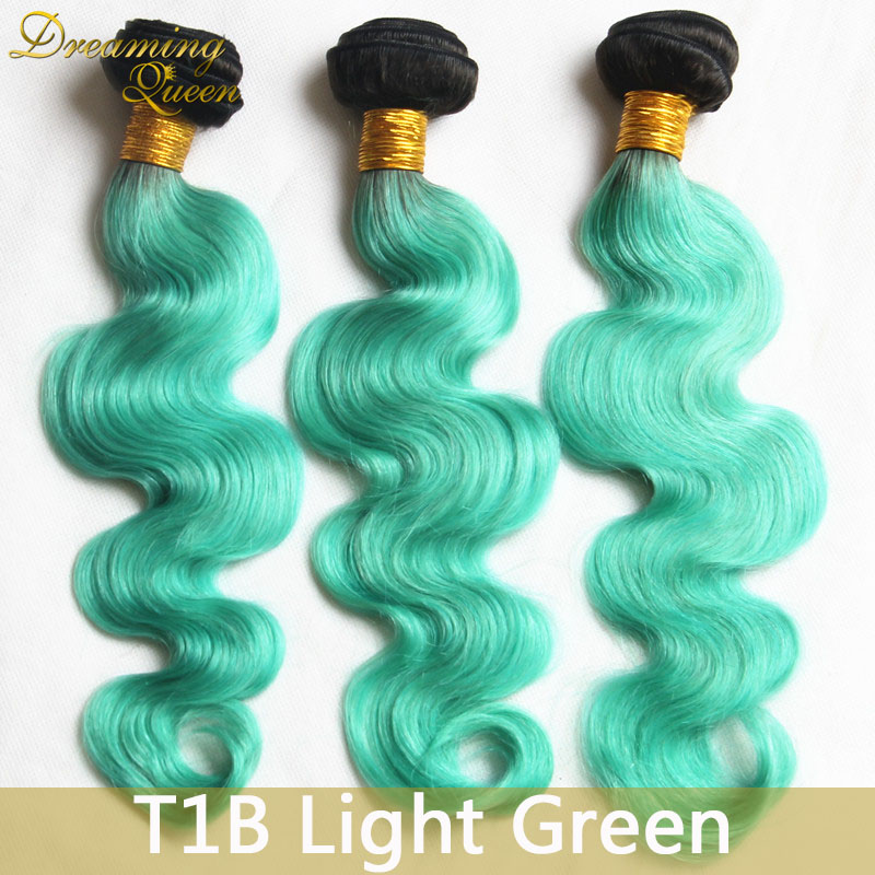 1b Mint Green Human Hair Extensions 3 Pcslot Body Wave Human Hair